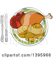 Clipart Of A Sketched Meal Of Chicken And Pasta Royalty Free Vector Illustration by Vector Tradition SM