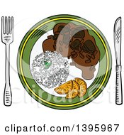 Clipart Of A Sketched Plate Of Pork And Bean Stew Feijoada Royalty Free Vector Illustration