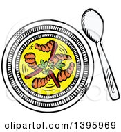 Clipart Of A Sketched Bowl Of Shrimp Stew Royalty Free Vector Illustration