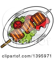 Clipart Of A Sketched Beef Picanha Skewer Royalty Free Vector Illustration