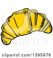 Clipart Of A Sketched Croissant Royalty Free Vector Illustration