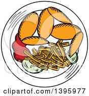 Clipart Of A Sketched Plate Of Chicken Wings And French Fries Royalty Free Vector Illustration by Vector Tradition SM