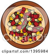 Clipart Of A Bowl Of Red Salsa Royalty Free Vector Illustration