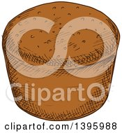 Clipart Of A Sketched Rye Bread Royalty Free Vector Illustration