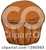 Clipart Of A Sketched Muffin Or Cupcake Royalty Free Vector Illustration