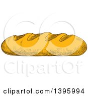 Clipart Of A Sketched Loaf Of French Bread Royalty Free Vector Illustration