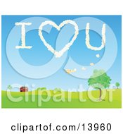 Biplane Flying Over A Barn And Leaving The Message I Love You In The Sky Clipart Illustration