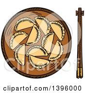 Clipart Of Sketched Steamed Dumplings Royalty Free Vector Illustration