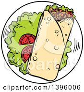 Clipart Of A Sketched Argentine Steak Wrap Royalty Free Vector Illustration