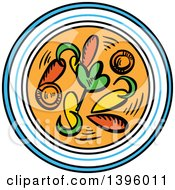 Clipart Of A Sketched Bowl Of Asian Soup Royalty Free Vector Illustration by Vector Tradition SM