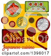 Clipart Of A Sketched Japanese Sushi Platter Royalty Free Vector Illustration