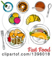 Clipart Of A Meal Of Sketched Fast Food With Text Royalty Free Vector Illustration