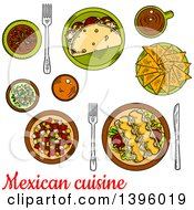 Clipart Of A Sketched Meal Of Mexican Food With Text Royalty Free Vector Illustration by Vector Tradition SM