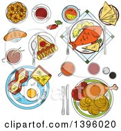 Clipart Of Sketched Served Foods Royalty Free Vector Illustration