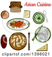 Clipart Of A Sketched Meal Of Asian Cuisine Royalty Free Vector Illustration