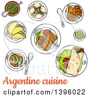 Clipart Of A Sketched Meal Of Argentine Cuisine Royalty Free Vector Illustration