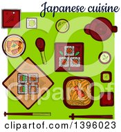 Clipart Of A Meal Of Japanese Cuisine On Green Royalty Free Vector Illustration by Vector Tradition SM