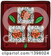 Clipart Of Sketched Japanese Cuisine Caviar Sushi Royalty Free Vector Illustration by Vector Tradition SM