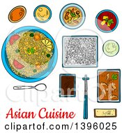 Sketched Meal Of Asian Cuisine