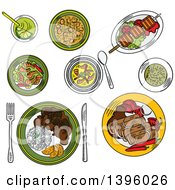 Clipart Of A Sketched Meal Of Brazilian Foods Royalty Free Vector Illustration