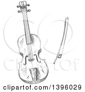 Clipart Of A Gray Sketched Violin And Bow Royalty Free Vector Illustration