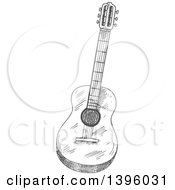 Clipart Of A Gray Sketched Guitar Royalty Free Vector Illustration