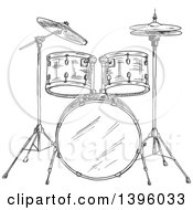 Clipart Of A Gray Sketched Drum Set Royalty Free Vector Illustration