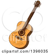 Clipart Of A Sketched Guitar Royalty Free Vector Illustration by Seamartini Graphics