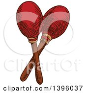 Clipart Of A Sketched Pair Of Maracas Royalty Free Vector Illustration by Vector Tradition SM