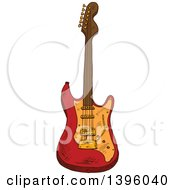 Clipart Of A Sketched Electric Guitar Royalty Free Vector Illustration by Seamartini Graphics