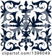 Clipart Of A Navy Blue Square Vintage Ornate Flourish Design Element Royalty Free Vector Illustration by Vector Tradition SM