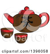 Sketched Chinese Tea Pot And Cups