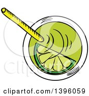 Clipart Of A Sketched Lime Cocktail Caipirinha Royalty Free Vector Illustration by Vector Tradition SM