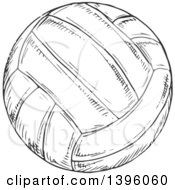 Sketched Dark Gray Volleyball