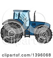 Clipart Of A Sketched Blue Tractor Royalty Free Vector Illustration