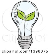Clipart Of A Sketched Plant In A Light Bulb Royalty Free Vector Illustration by Vector Tradition SM