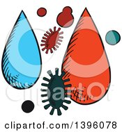 Clipart Of Sketched Pests And Water Or Pesticides Royalty Free Vector Illustration by Vector Tradition SM