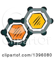 Clipart Of Sketched Molecules Royalty Free Vector Illustration