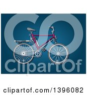 Clipart Of A Bicycle With Visible Mechanical Parts On Blue Royalty Free Vector Illustration