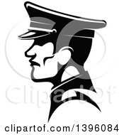 Clipart Of A Black And White Profiled German Soldier In A Peaked Cap Royalty Free Vector Illustration by Vector Tradition SM