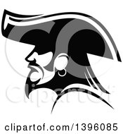 Clipart Of A Black And White Profiled Pirate Captain Royalty Free Vector Illustration