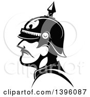 Clipart Of A Black And White Profiled General Of The Prussian Army Royalty Free Vector Illustration by Vector Tradition SM
