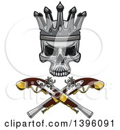 Crowned Skull Over Crossed Pistols