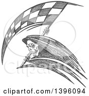 Clipart Of A Grayscale Sketched Grim Reaper With A Racing Flag Scythe Royalty Free Vector Illustration by Seamartini Graphics