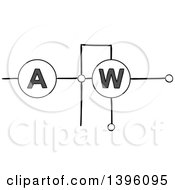 Clipart Of A Sketched Circuit Royalty Free Vector Illustration by Vector Tradition SM