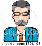 Clipart Of A Sketched Caucasian Male Teacher Avatar Royalty Free Vector Illustration by Vector Tradition SM