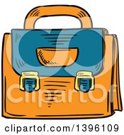 Clipart Of A Sketched Teacher Bag Royalty Free Vector Illustration
