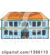Clipart Of A Sketched School Building Royalty Free Vector Illustration