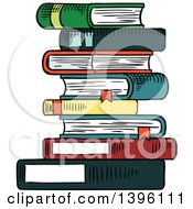 Clipart Of A Sketched Stack Of Books Royalty Free Vector Illustration by Seamartini Graphics