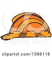 Clipart Of A Sketched Orange Hardhat Royalty Free Vector Illustration by Seamartini Graphics